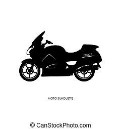 black , silhouette, motorfiets, politie