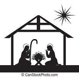 nativity scene - black silhouette nativity scene isolated. ...