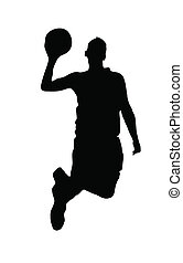 Black silhouette of a basketball player on white background