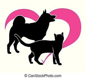 Black silhouette of a cat and a dog on the background of Magenta heart