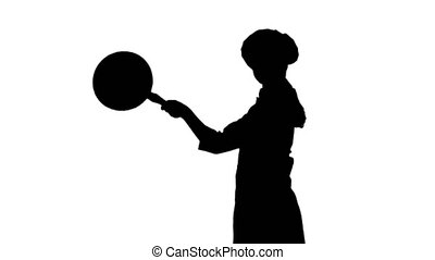 Black silhouette of a cook is posing with a stewpot. - Black...