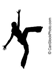 black silhouette of a dancer on a w