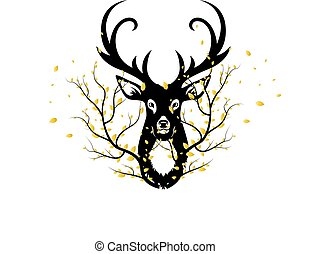 Black silhouette of a deer head and a branch of autumn leaves, on a white background.