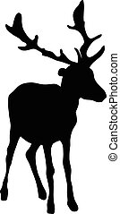 black silhouette of a deer on white