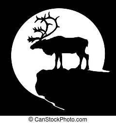 Black silhouette of a deer, like the caribou in front of the...