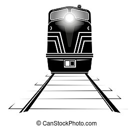 black silhouette of a diesel locomotive moving along the rails