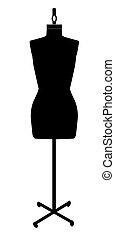 dressmakers mannequin - black silhouette of a dressmakers...