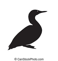 Black silhouette of a duck on white background. Vector Illustration