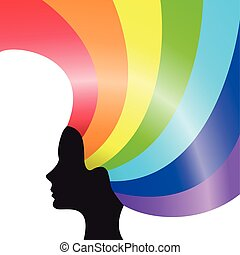 black silhouette of a female head with rainbow hair