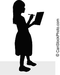 Black silhouette of a girl in a dress.