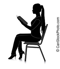 girl reading a book - black silhouette of a girl reading a...