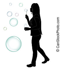girl who blow bubbles - black silhouette of a girl who blow...