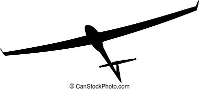 Black silhouette of a glider is not a white background. Vector illustration