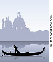 black silhouette of a gondola floating on the calm water of Venetian landscape