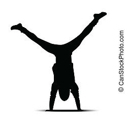 black silhouette of a guy dancing