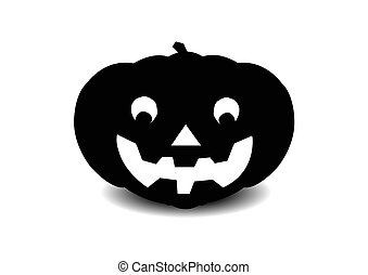 black silhouette of a halloween's pumpkin on white background