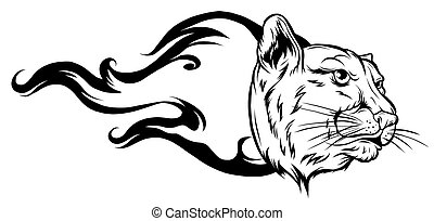 Black silhouette of a head of a tiger with a flame vector