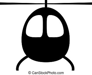 Black silhouette of a helicopter cabin in front on a white background.