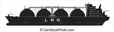 Black silhouette of a huge ocean tanker for liquefied gas. Traced details. Side view.