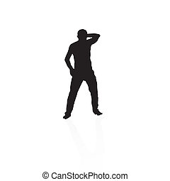 black silhouette of a man dancing