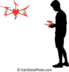 Black silhouette of a man operates unmanned quadcopter vector illustration