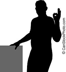 Black silhouette of a man showing hand sign OK
