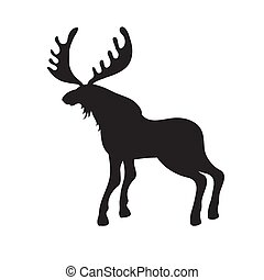 Black silhouette of a moose on a white isolated background. Vector image