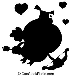 Black silhouette of a pig cupid