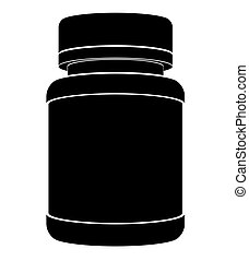 Black silhouette of a plastic jar for medicines with a closed lid. Flat side view.