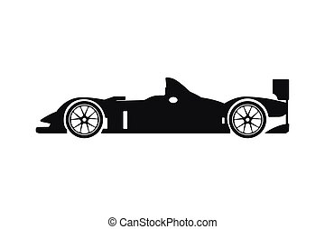 Black silhouette of a racing car on a white background