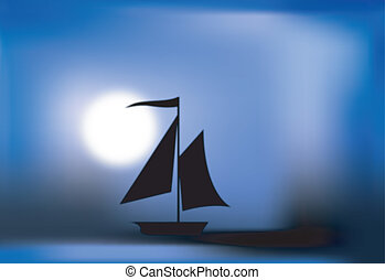 Black silhouette of a sailing vessel grim scary at night