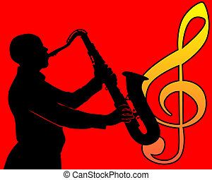 black silhouette of a saxophone player on a red background