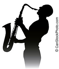 black silhouette of a saxophone player on a white background