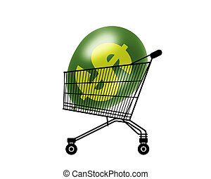 inflated purchasing power - black silhouette of a shopping ...