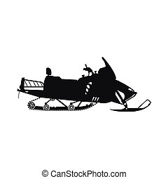 Black silhouette of a snowmobile on a white background