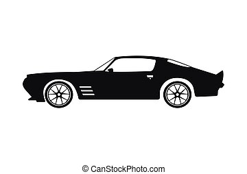 Black silhouette of a sports car on a white background