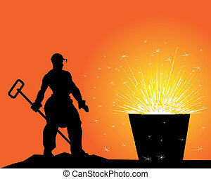 black silhouette of a steelworker on an orange background