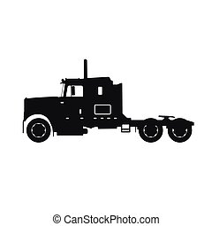 Black silhouette of a tractor truck on a white background....