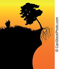 black silhouette of a tree on a cliff in an orange background