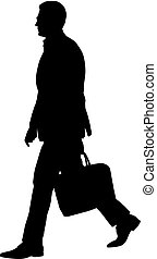 Black silhouette of a walking man with a briefcase on a white background