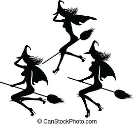 black silhouette of a witch