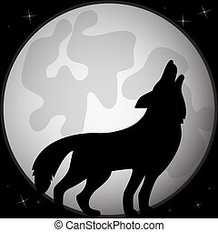 Black silhouette of a wolf in front of the full moon.