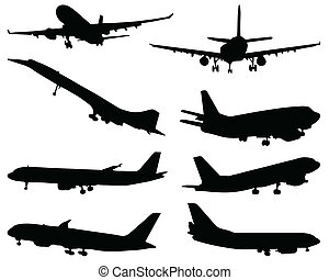 Black silhouette of aircraft, vector