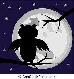 Black silhouette of an owl, a bird sitting on a tree branch against the background of the full moon. Night. Halloween