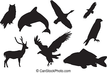 Black silhouette of animals