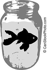 Black silhouette of aquarium fish in a jar with water on white background