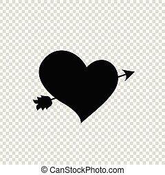Black silhouette of arrow through heart on transparent background.