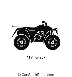 Black silhouette of ATV on a white background