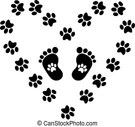 Black silhouette of baby footprints with pawprints inside framed
