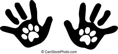 Black silhouette of baby hand prints with animal pawprints insid